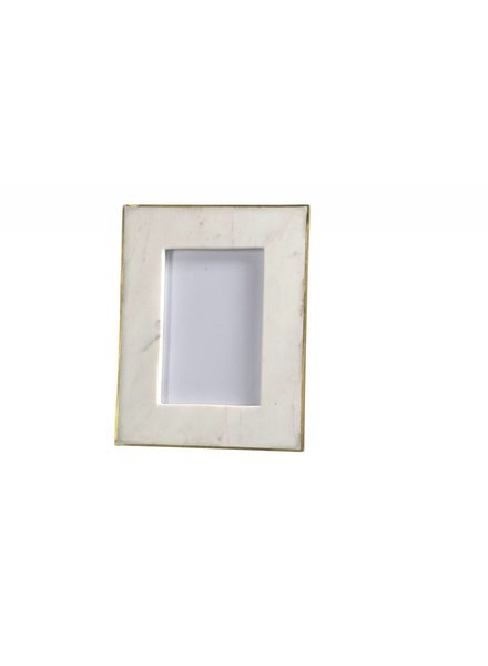 BIDKhome White Marble & Brass Photo Frame