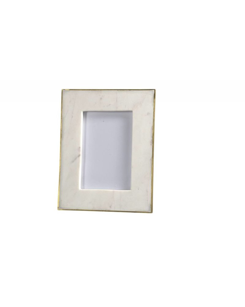 BIDKhome White Marble & Brass Photo Frame- 6\
