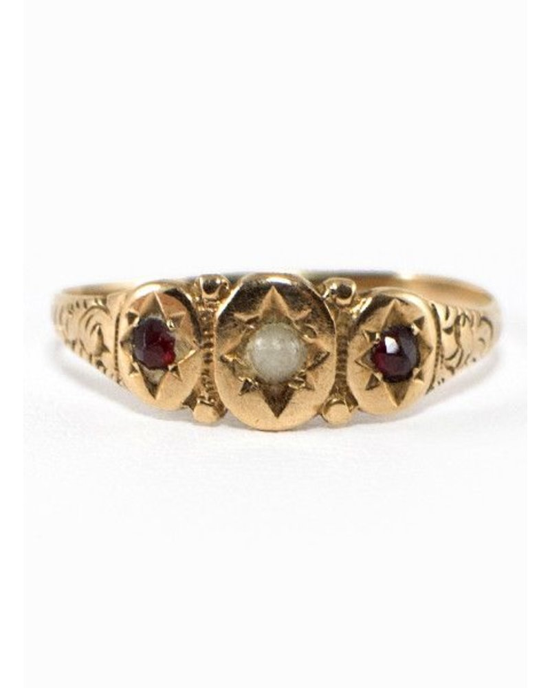 Vintage Jewelry Vintage Ring Pearl & Ruby Ring Gold Victorian- size 7
