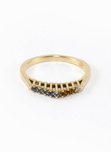Eskell Fine Jewelry Crown Ring Aquamarine, Diamond & Citrine- size 7