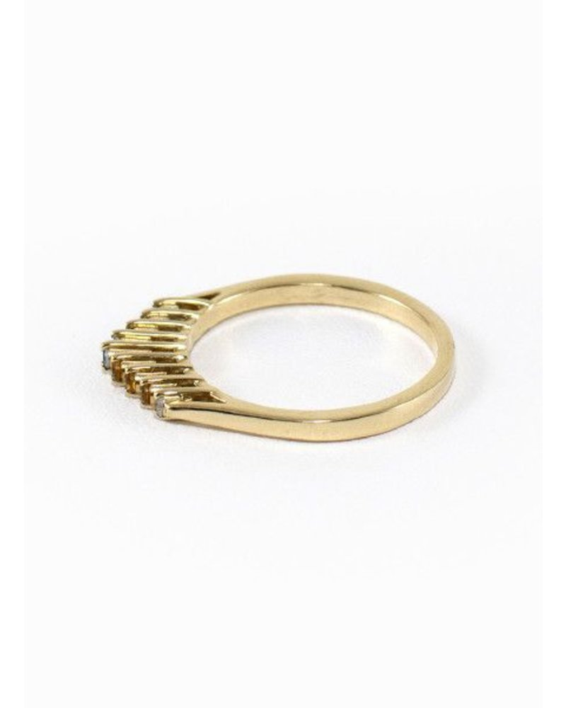 Eskell Fine Jewelry Eskell Crown Ring Aquamarine, Diamond & Citrine- size 7