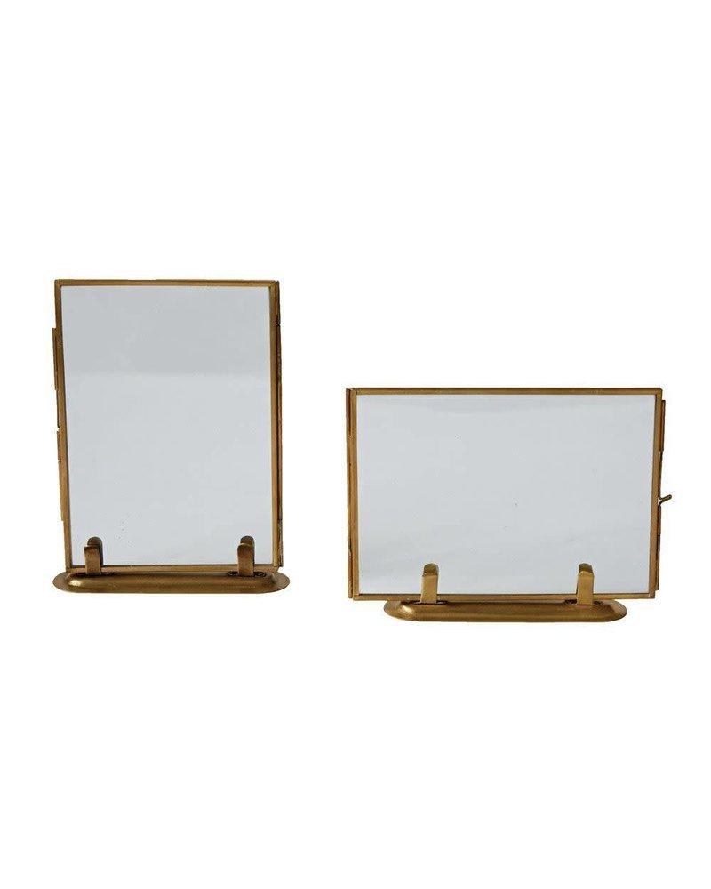 """Creative Co-Op Standing Brass & Glass Photo Frame- 5""""x7"""""""