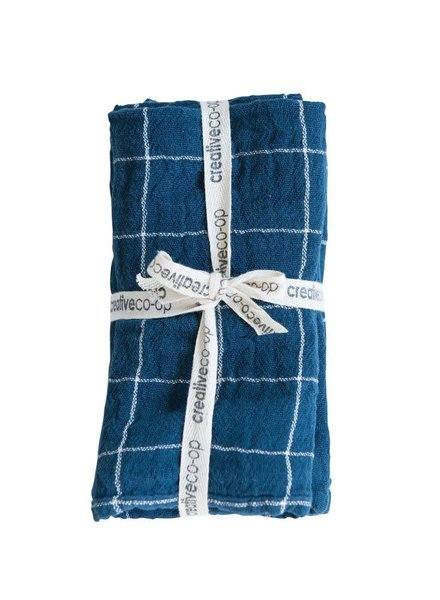 Creative Co-Op Square Woven Cotton Hand Towels- Navy