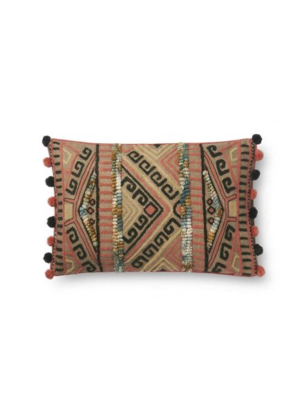 Loloi Bohemian Pom Pillow- Pink & Grey