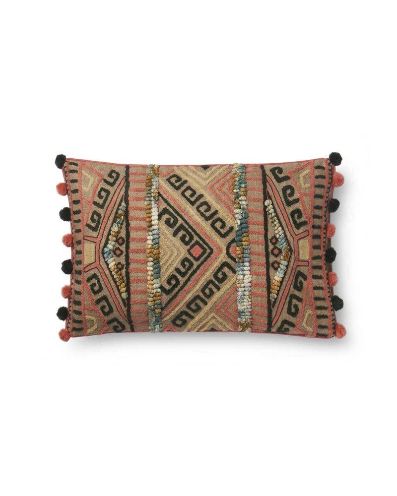 Loloi Bohemian Pom Pillow- Pink & Grey