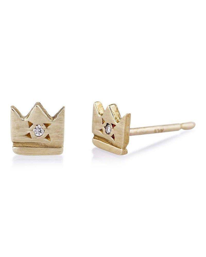 Scosha Scosha Crown Stud Earrings- Pair