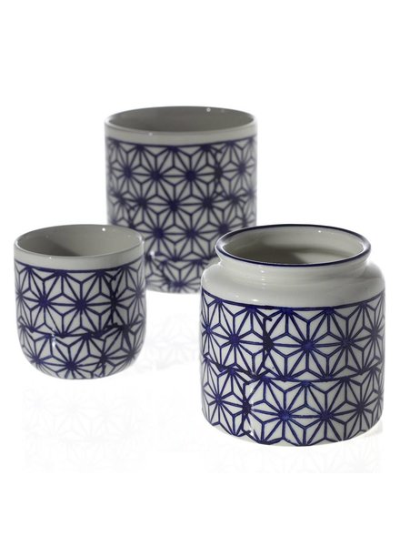 Accent Decor White and Blue Dolly Geo Print Pot