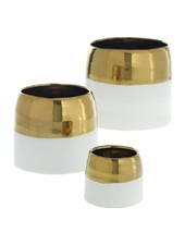 Accent Decor White and Gold Claire Pot