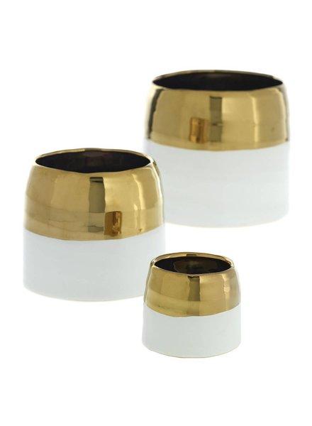 Accent Decor White and Gold Claire Pot