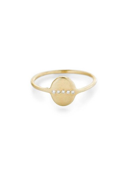 Scosha | Tiny Oval Signet Ring With Diamonds | Sz 7