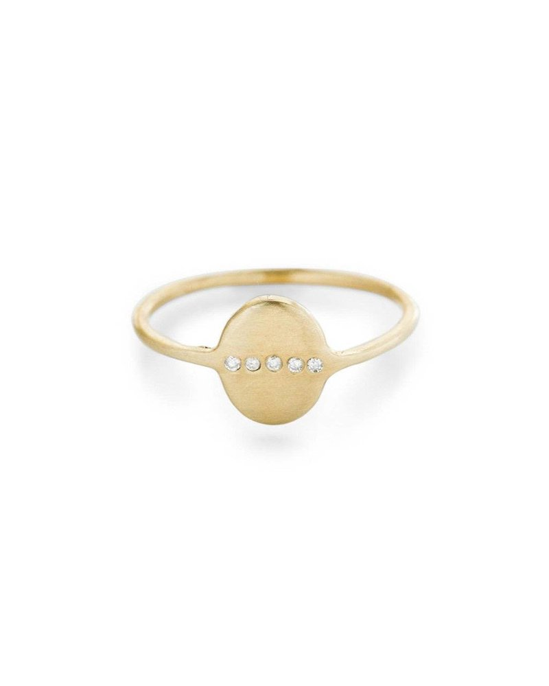 Scosha Scosha Tiny Oval Signet Ring With Diamonds- size 7