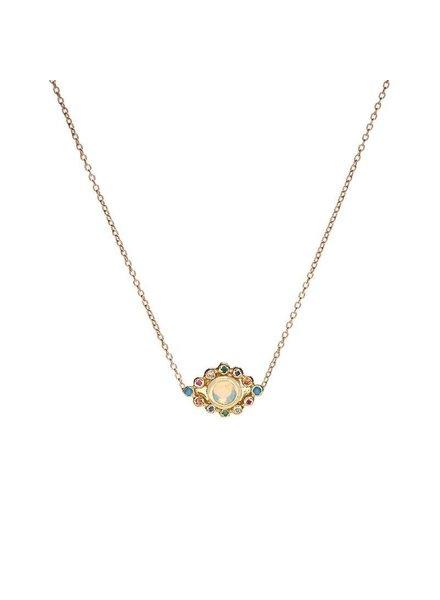 | Evil Eye Pendant Necklace  Gold w/Opal