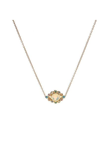 Scosha Scosha Evil Eye Pendant Necklace in Gold with Opal