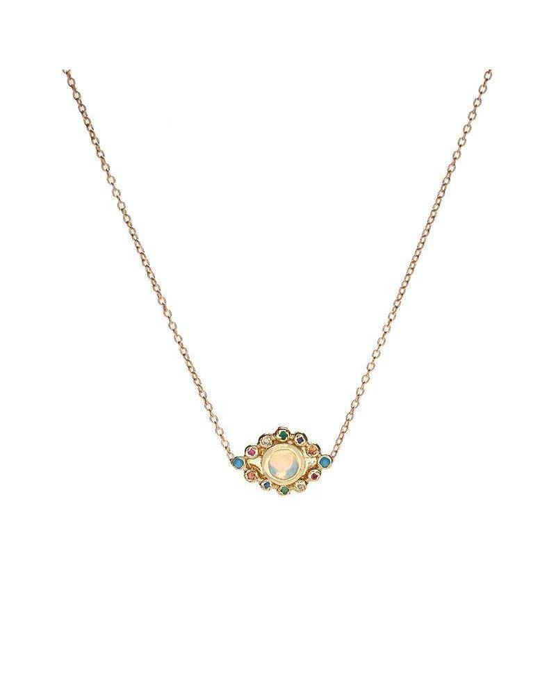 Scosha Scosha Evil Eye Pendant Necklace in Gold with Opal