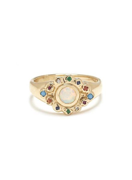 | Evil Eye Ring in Gold with Opal & Mixed Stones