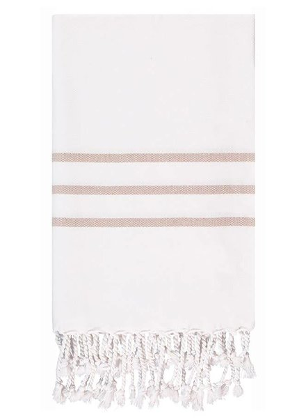 Olive & Loom Three Stripe Body Towel- Milk & Coffee