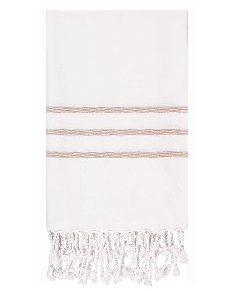 Olive & Loom Three Stripe Body Towel- Milk & Coffee