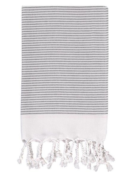 Olive & Loom Candy Striped Hand Towel- Charcoal