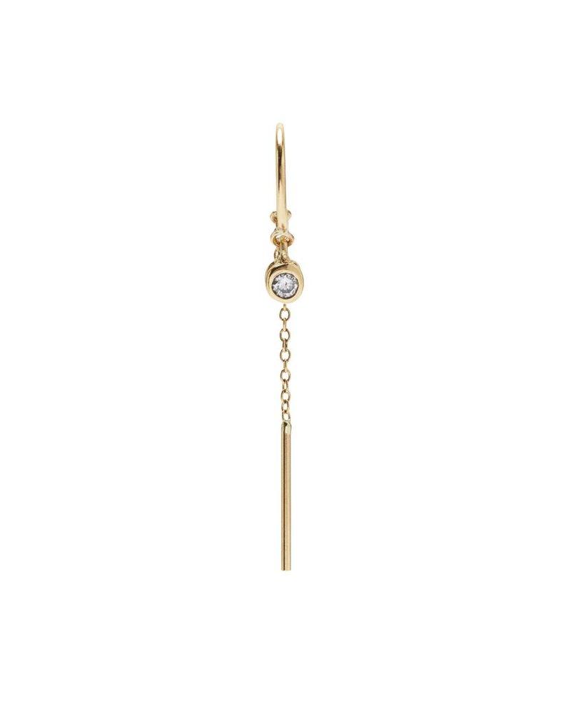 Single Diamond Threader Earring