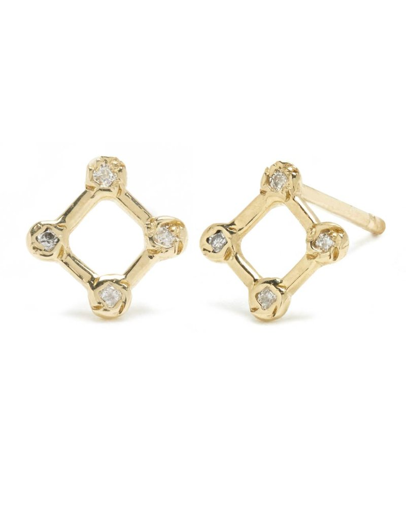 Scosha | Tiny Diamond Window Stud with Diamonds | Single