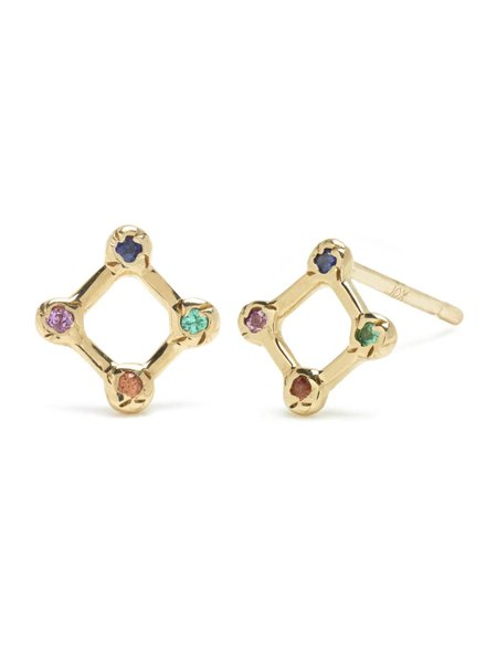 | Tiny Diamond Window Stud with Mixed Stones | Single