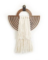 Wanderluxe Walnut and Ivory Sol Wall Hanging