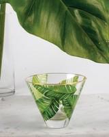 8 Oak Lane Palm Leaf Stemless Martini Glass
