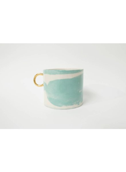 From:fran Big Dreamy Mug- White, Turquoise with Gold Handle