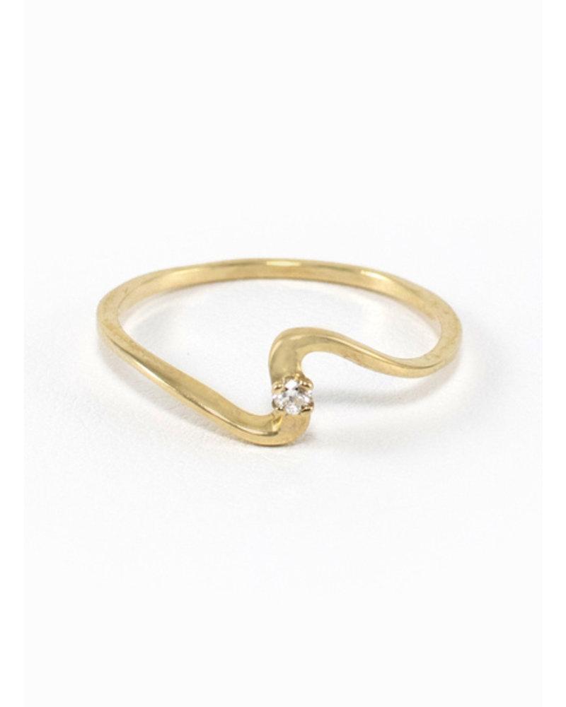 Eskell Yellow Gold & White Diamond Wave Ring- size 8