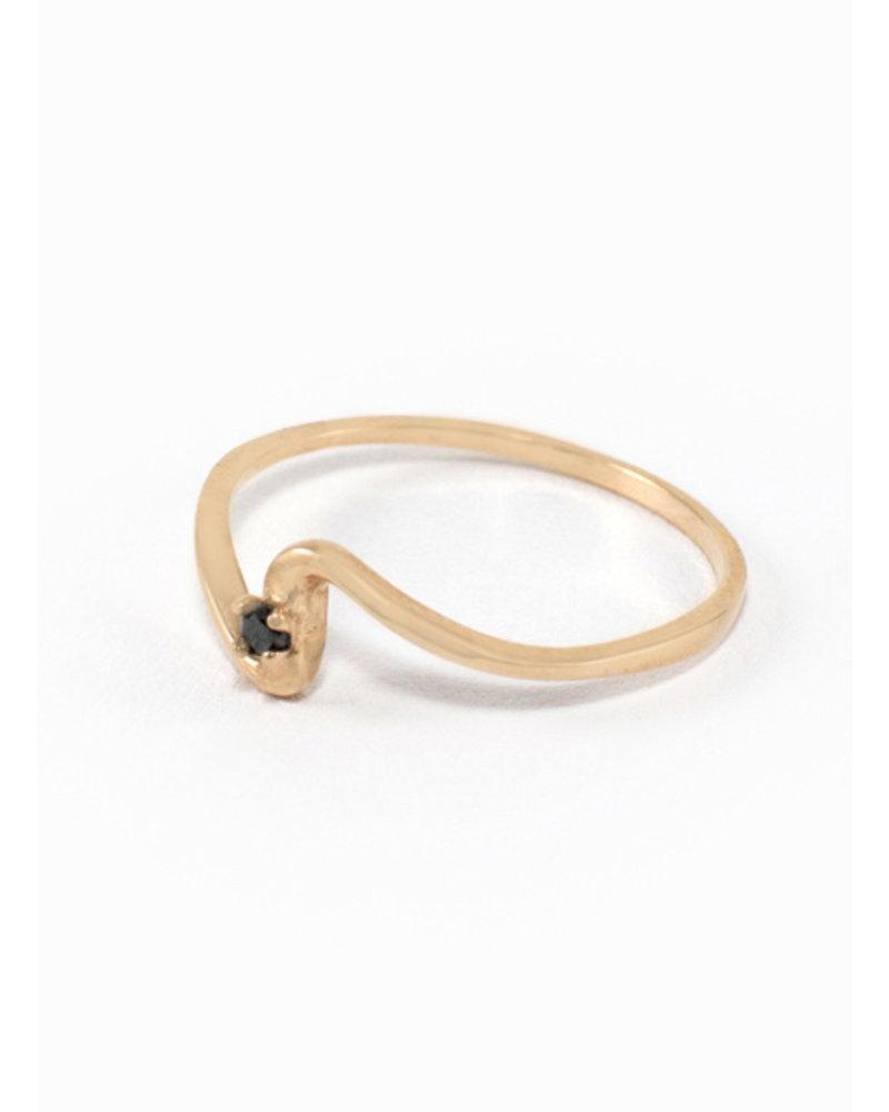 Rose Gold &  Black Diamond Wave Ring - Size 8