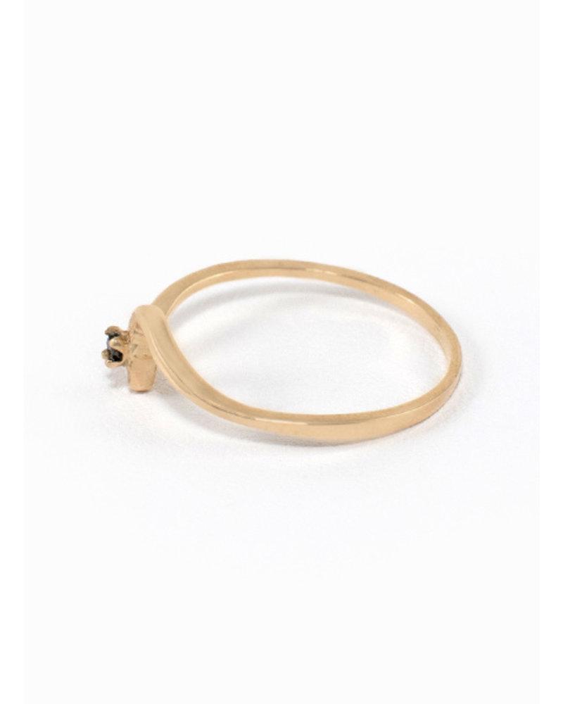 Eskell Wave Ring Rose Gold & Black Diamond- size 8