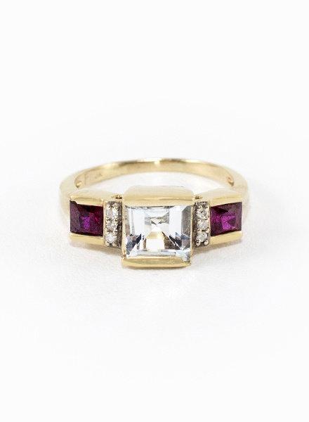 Vintage Aquamarine, Diamond & Ruby Squares Gold Ring