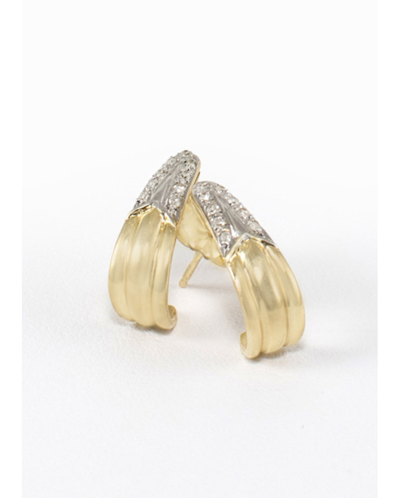 Vintage Diamond & Gold Baby Hoop Earrings