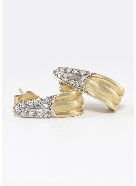 Vintage Jewelry Vintage Diamond & Gold Baby Hoop Earrings
