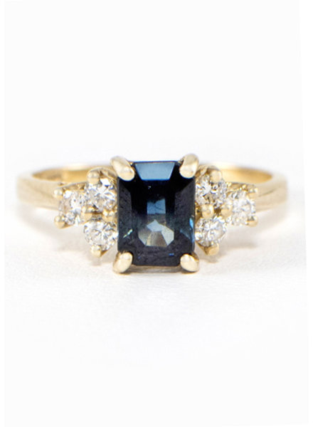 Vintage 14k Yellow Gold Sapphire & Diamond Ring- size 6