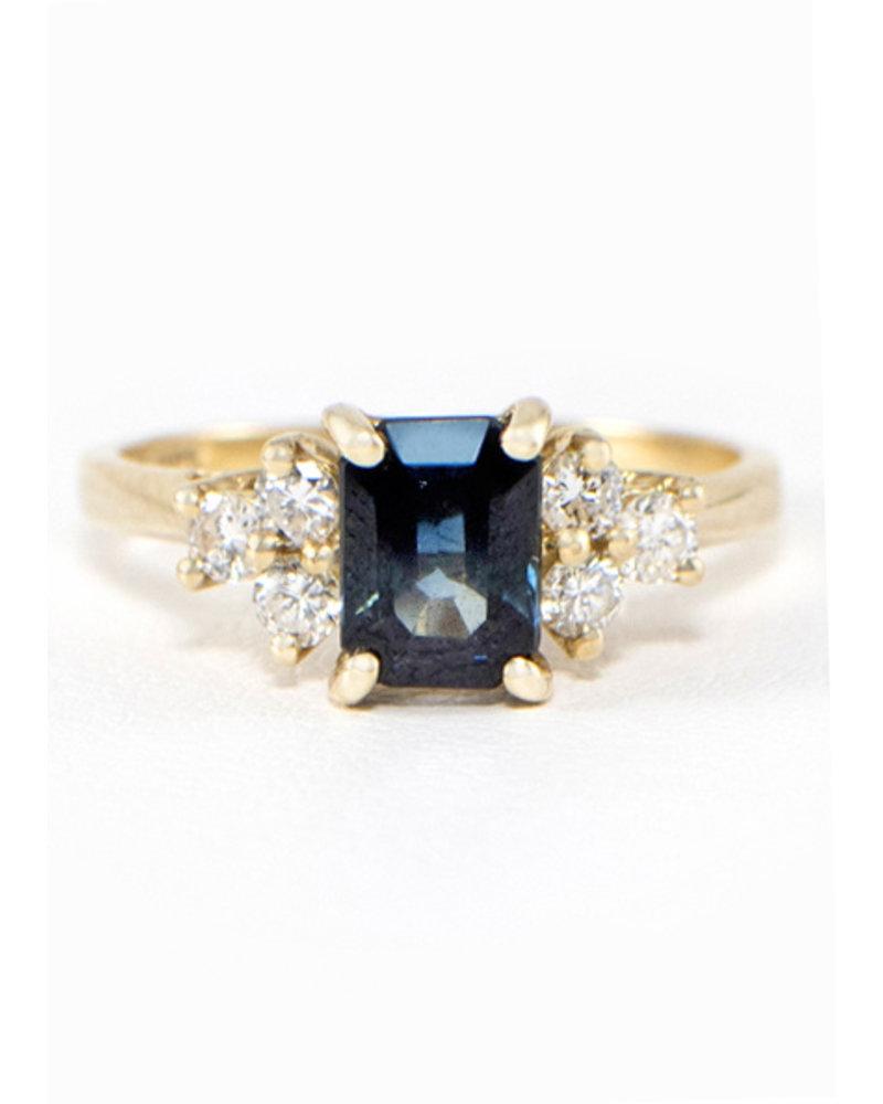 Vintage 14k Yellow Gold Sapphire & Diamond Ring- size 6