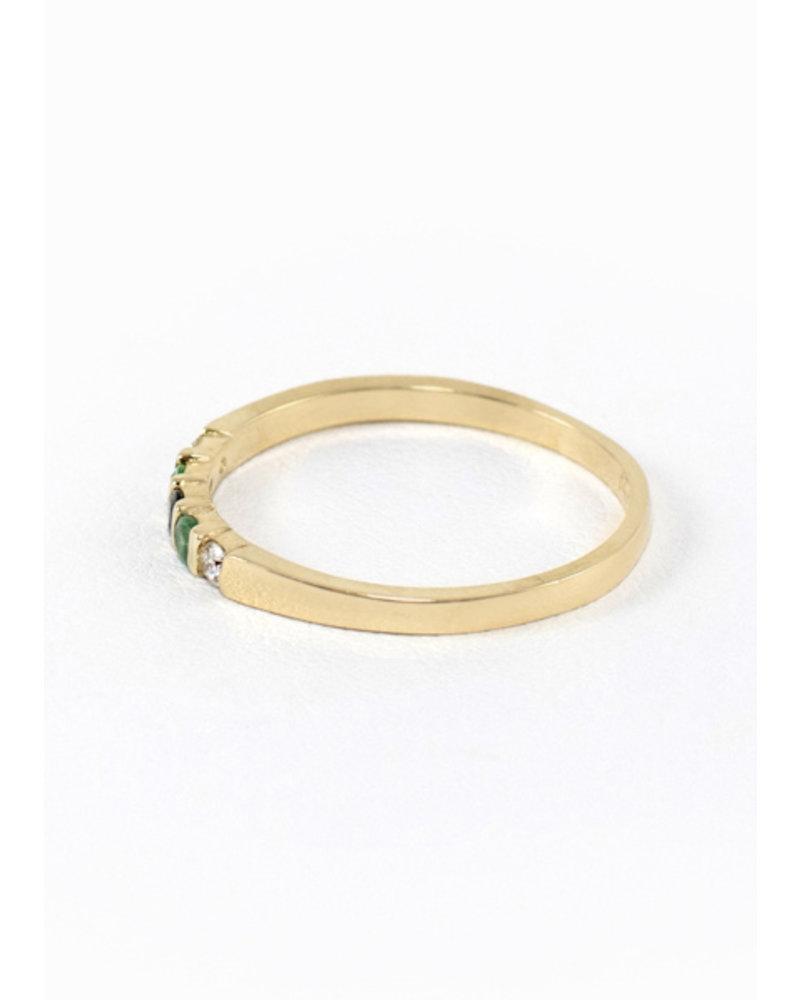Eskell Vivian Ring Black Diamond, Emerald & Diamond- size 8