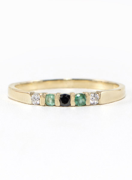 Eskell Vivian Ring Black Diamond, Emerald & Diamond- size 8