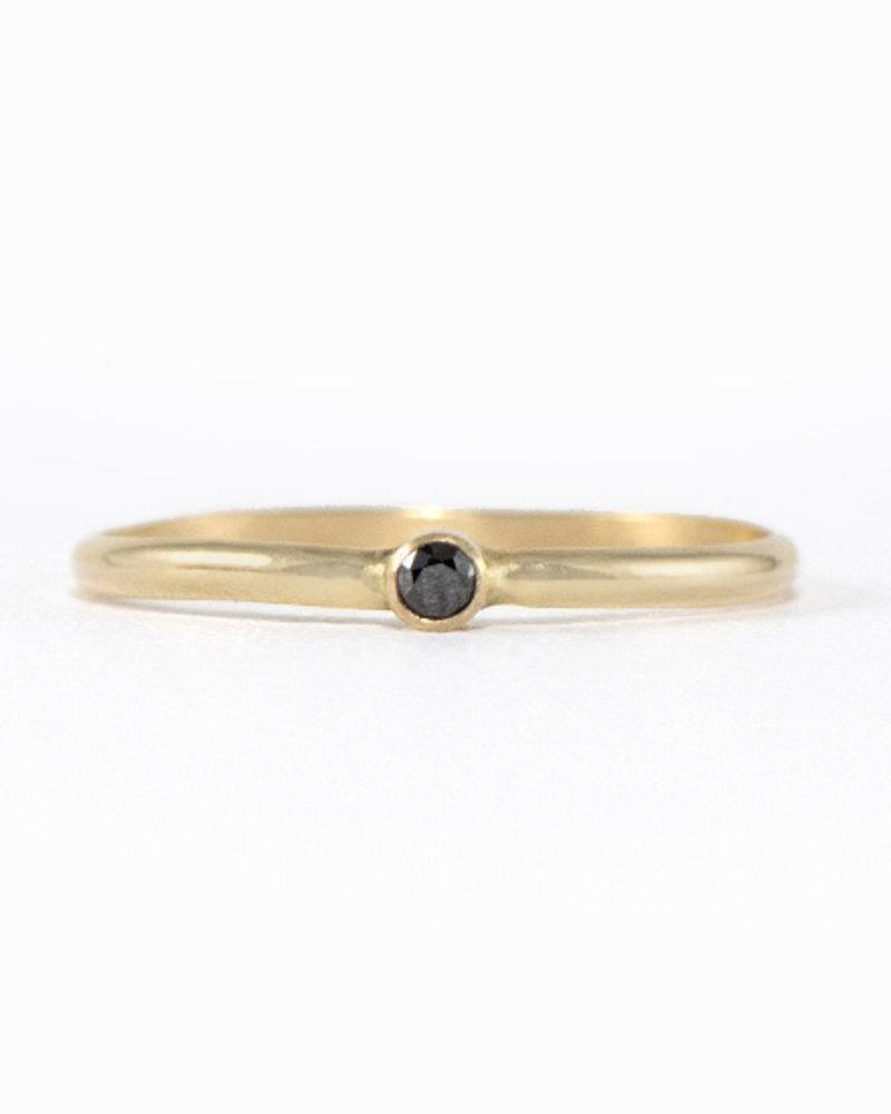Solitaire Black Diamond Ring - Size 8