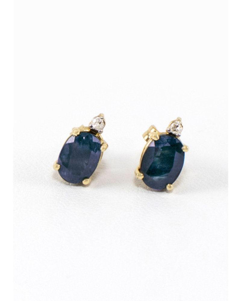 Vintage Jewelry Vintage Sapphire Earrings with 3 Diamonds 10k Gold