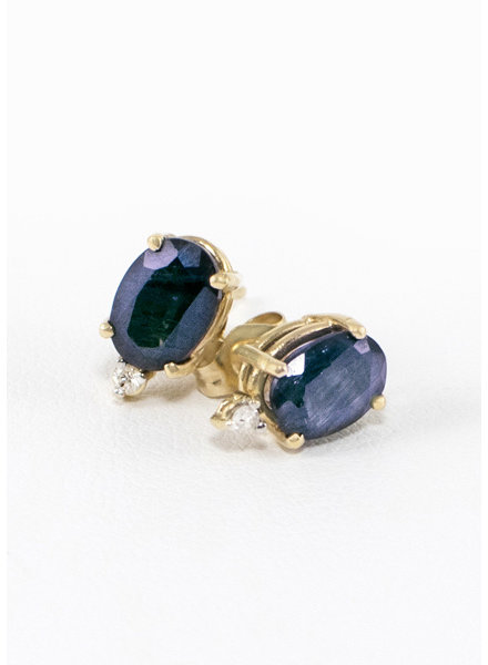 Vintage Sapphire Earrings with 3 Diamonds 10k Gold