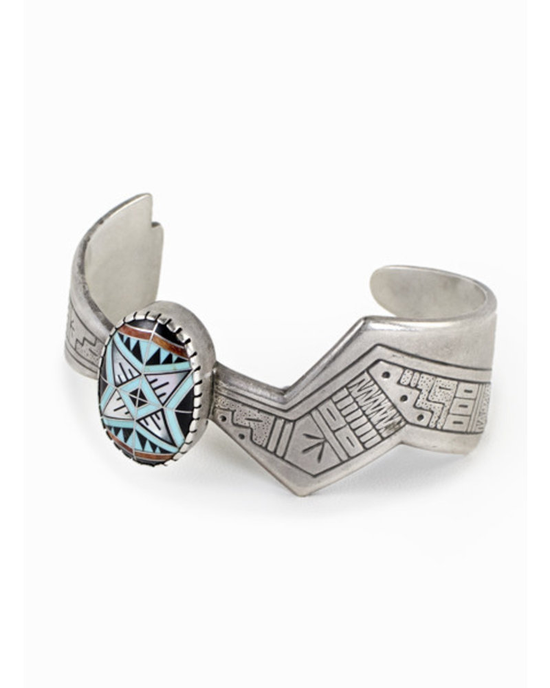 Vintage Turquoise Inlay Cuff