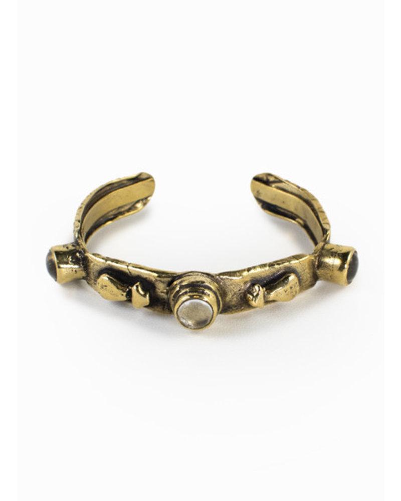3 Stone Crystal Gold Cuff