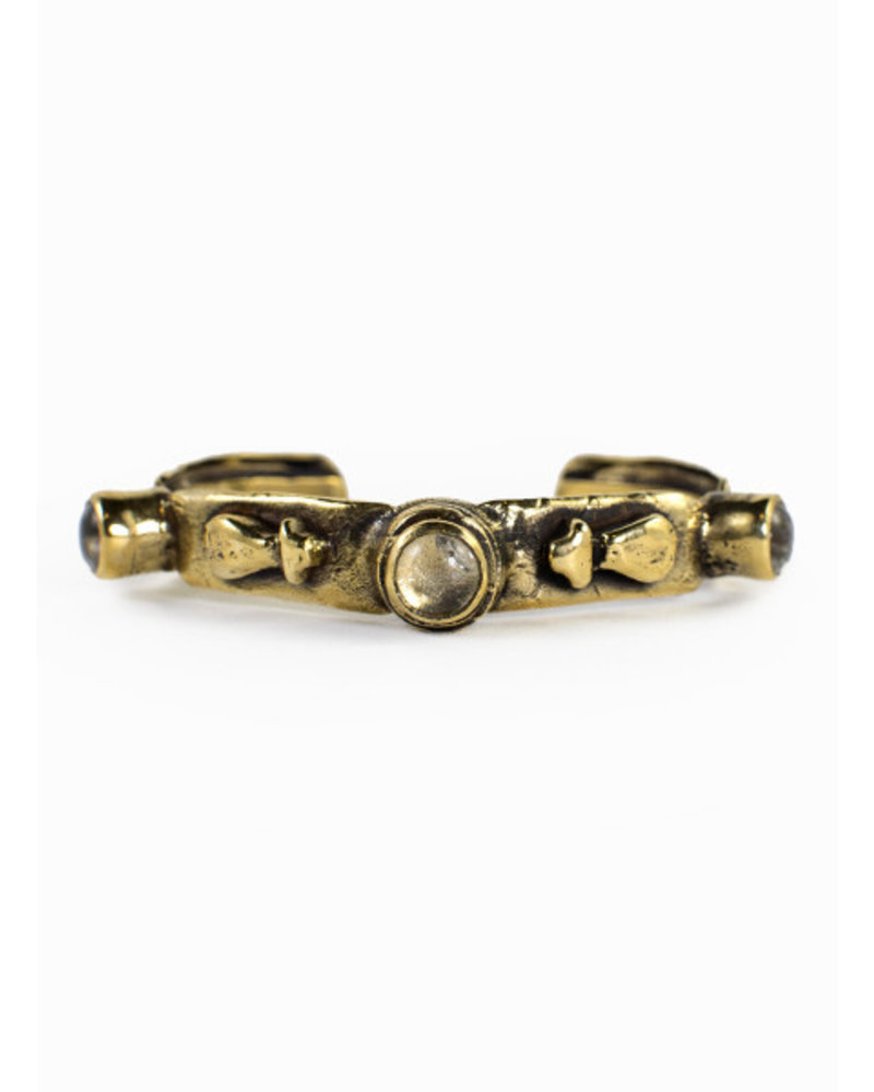 Break-a-Stone 3 Stone Crystal Gold Cuff