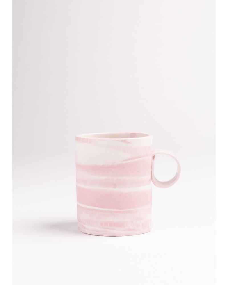 From:fran Cotton Candy Double Espresso/Lungo Mug- Pink, White