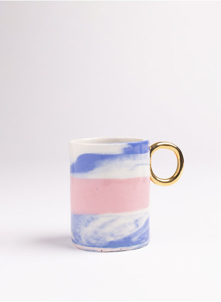 From:fran Serenity Double Espresso/Lungo Mug- Blue, Pink, Periwinkle