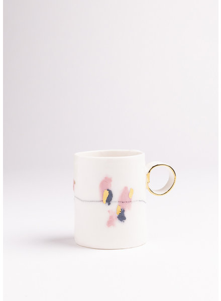 From:fran Multi Double Espresso/Lungo Mugs- White, Pink, Navy, Gold