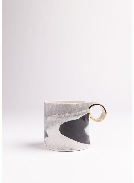 From:fran | Cappuccino Mug | Black, Grey & White