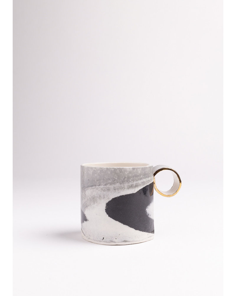 From:fran | Cappuccino Mug | Black, Grey & White