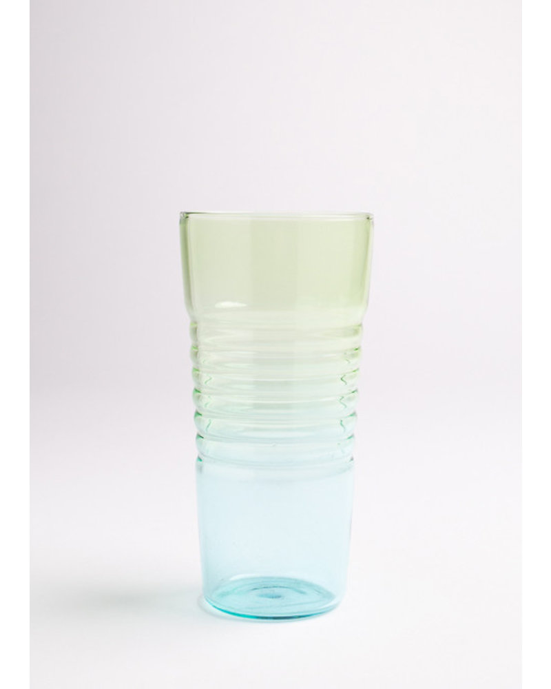 Tall Ombre Glass- Blue & Green